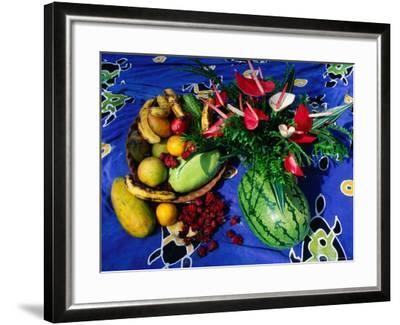 Flowers and Fruits on a Cloth, Castle Comfort, Dominica-Michael Lawrence-Framed Photographic Print