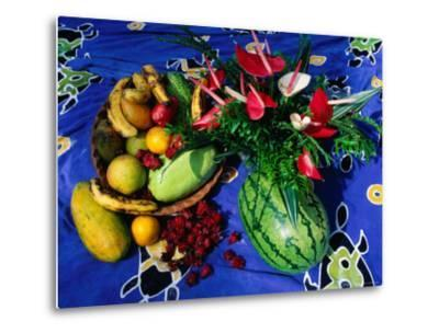 Flowers and Fruits on a Cloth, Castle Comfort, Dominica-Michael Lawrence-Metal Print
