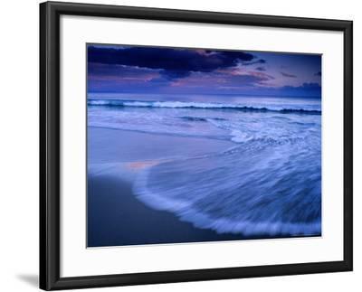 Wave on Shore of Neck Beach at Sunset, Bruny Island, Tasmania, Australia-Gareth McCormack-Framed Photographic Print