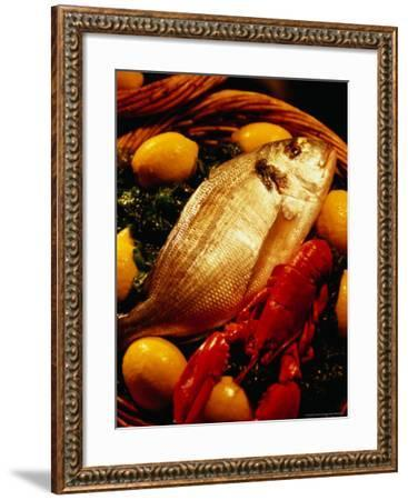 Fish and Lobster on Bed of Green Vegetables and Lemons, Marseille, France-Jean-Bernard Carillet-Framed Photographic Print