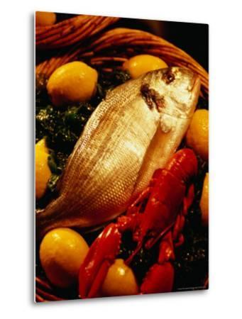Fish and Lobster on Bed of Green Vegetables and Lemons, Marseille, France-Jean-Bernard Carillet-Metal Print