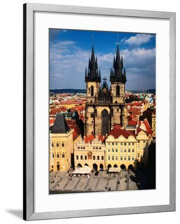 Tyn Church and Old Town Square Seen from Old Town Hall, Prague, Czech Republic-Jonathan Smith-Framed Photographic Print