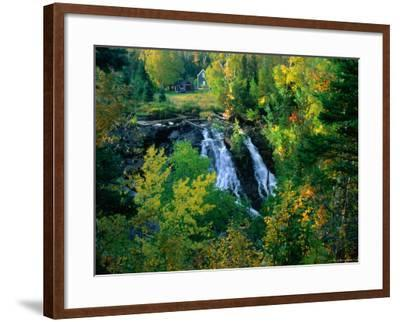 Waterfall and Autumn Colours with House in Background, Silver River Falls, Keweenaw County, USA-Charles Cook-Framed Photographic Print