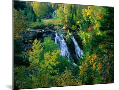 Waterfall and Autumn Colours with House in Background, Silver River Falls, Keweenaw County, USA-Charles Cook-Mounted Photographic Print