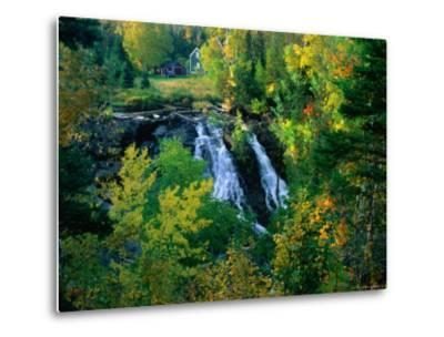 Waterfall and Autumn Colours with House in Background, Silver River Falls, Keweenaw County, USA-Charles Cook-Metal Print