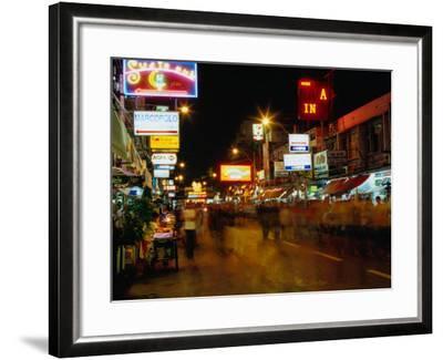 Street at Night, Thanon Khao San, Bangkok, Thailand-Ryan Fox-Framed Photographic Print