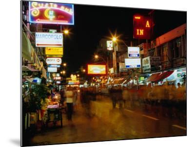 Street at Night, Thanon Khao San, Bangkok, Thailand-Ryan Fox-Mounted Photographic Print