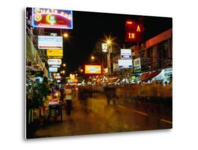 Street at Night, Thanon Khao San, Bangkok, Thailand-Ryan Fox-Metal Print