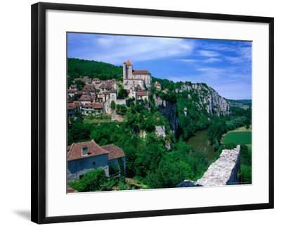 Clifftop Village Perched High Above the River Lot, St. Cirq Lapopie, Midi-Pyrenees, France-David Tomlinson-Framed Photographic Print