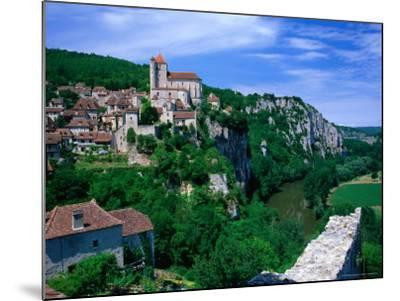 Clifftop Village Perched High Above the River Lot, St. Cirq Lapopie, Midi-Pyrenees, France-David Tomlinson-Mounted Photographic Print