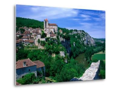Clifftop Village Perched High Above the River Lot, St. Cirq Lapopie, Midi-Pyrenees, France-David Tomlinson-Metal Print