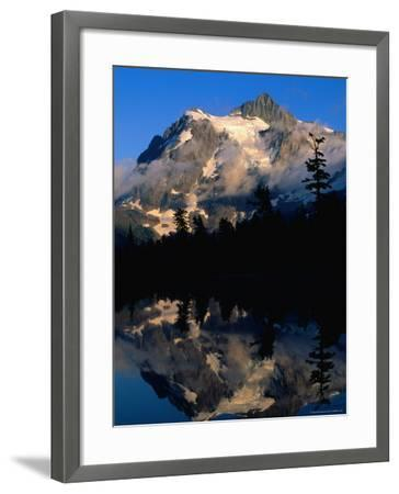 Mt. Shuksan Reflected on Picture Lake, Mt. Baker Scenic Byway, USA-John Elk III-Framed Photographic Print