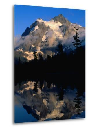 Mt. Shuksan Reflected on Picture Lake, Mt. Baker Scenic Byway, USA-John Elk III-Metal Print