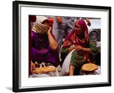 Women Selling Bread at the Market, Mary, Mary, Turkmenistan-Jane Sweeney-Framed Photographic Print