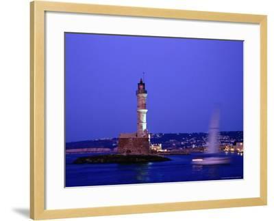 Yacht Sailing Past Hania Lighthouse at Dusk, Hania, Greece-Glenn Beanland-Framed Photographic Print