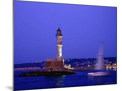 Yacht Sailing Past Hania Lighthouse at Dusk, Hania, Greece-Glenn Beanland-Mounted Photographic Print