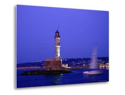 Yacht Sailing Past Hania Lighthouse at Dusk, Hania, Greece-Glenn Beanland-Metal Print