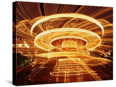 Christmas Merry-Go-Round Spinning on the Place De L'Hotel De Ville, Paris, Ile-De-France, France-Martin Moos-Stretched Canvas Print