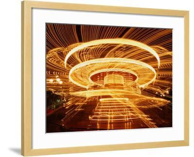Christmas Merry-Go-Round Spinning on the Place De L'Hotel De Ville, Paris, Ile-De-France, France-Martin Moos-Framed Photographic Print