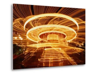 Christmas Merry-Go-Round Spinning on the Place De L'Hotel De Ville, Paris, Ile-De-France, France-Martin Moos-Metal Print