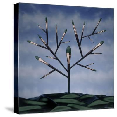 Paint Brush Art Tree-Howard Sokol-Stretched Canvas Print