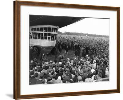 The Graf Zeppelin Airship at Hanworth Aerodrome Surrounded by Onlookers, 1931--Framed Photographic Print