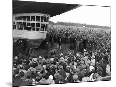 The Graf Zeppelin Airship at Hanworth Aerodrome Surrounded by Onlookers, 1931--Mounted Photographic Print