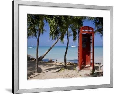 Caribbean, Antigua, Dickenson Bay, English Red Telephone Box-Gavin Hellier-Framed Photographic Print