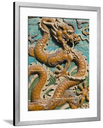 China, Beijing, Xicheng District, Behai Park, Detail of the Nine Dragon Screen-Walter Bibikow-Framed Photographic Print