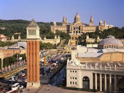 Plaza Espana and National Palace, Barcelona, Catalunya, Spain-Gavin Hellier-Framed Photographic Print
