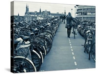 Holland, Amsterdam, Bicycle Park Outside the Main Train Station-Gavin Hellier-Stretched Canvas Print