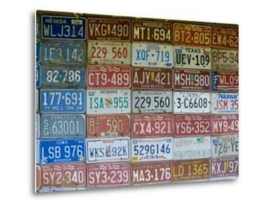 USA, Missouri, Route 66, Near Carthage, Car Number Plates-Alan Copson-Metal Print
