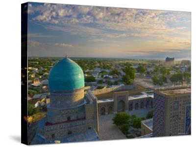 The Blue Domes of the Registan, Samarkand, Uzbekistan-Michele Falzone-Stretched Canvas Print