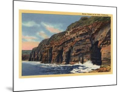La Jolla, California - View of the Seven Caves-Lantern Press-Mounted Art Print