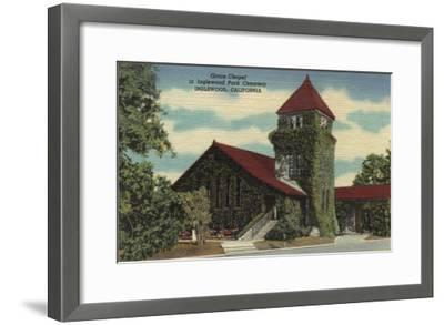 Inglewood, California - Grace Chapel, Inglewood Park Cemetery-Lantern Press-Framed Art Print