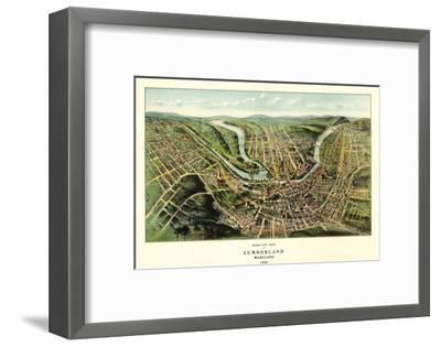 Cumberland, Maryland - Panoramic Map-Lantern Press-Framed Art Print