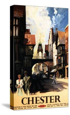 Chester, England - Street View with Couple and Tower Clock Rail Poster-Lantern Press-Stretched Canvas Print