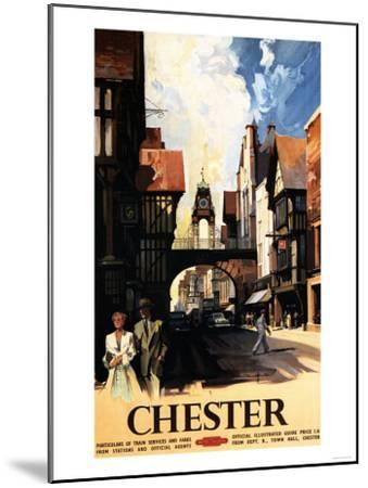 Chester, England - Street View with Couple and Tower Clock Rail Poster-Lantern Press-Mounted Art Print