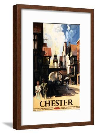Chester, England - Street View with Couple and Tower Clock Rail Poster-Lantern Press-Framed Art Print