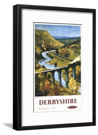 Derbyshire, England - Monsal Dale, Train and Viaduct British Rail Poster-Lantern Press-Framed Art Print