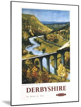 Derbyshire, England - Monsal Dale, Train and Viaduct British Rail Poster-Lantern Press-Mounted Art Print
