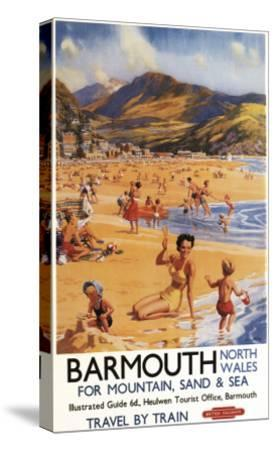 Barmouth, England - Beach Scene Mother and Kids British Rail Poster-Lantern Press-Stretched Canvas Print