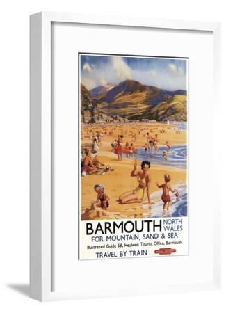 Barmouth, England - Beach Scene Mother and Kids British Rail Poster-Lantern Press-Framed Art Print