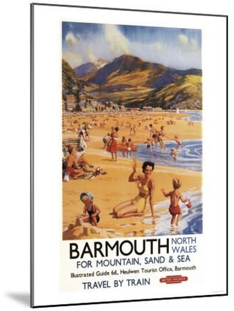 Barmouth, England - Beach Scene Mother and Kids British Rail Poster-Lantern Press-Mounted Art Print