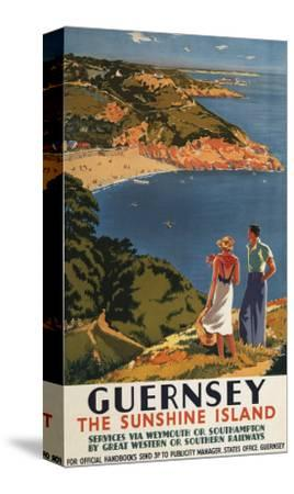 Guernsey, England - Southern/Great Western Rail Couple on Cliff Poster-Lantern Press-Stretched Canvas Print