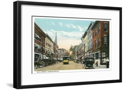 Kingston, New York - Southern View of Wall Street-Lantern Press-Framed Art Print
