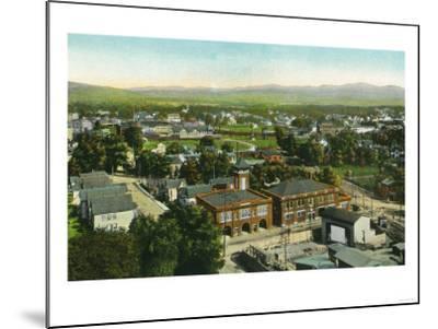 Kingston, New York - Aerial View of City, Fire Station and Municipal Bldg-Lantern Press-Mounted Art Print