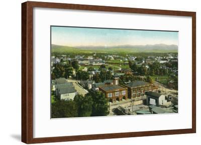 Kingston, New York - Aerial View of City, Fire Station and Municipal Bldg-Lantern Press-Framed Art Print