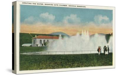 Catskill Park, New York - Aerating the Water at Ashokan Reservoir-Lantern Press-Stretched Canvas Print