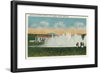 Catskill Park, New York - Aerating the Water at Ashokan Reservoir-Lantern Press-Framed Art Print